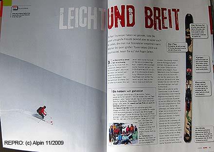 Začátek testu lyží v časopisu Alpin