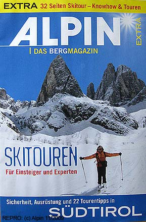 Titulní stránka skialpinistického speciálu časopisu Alpin 11-2009