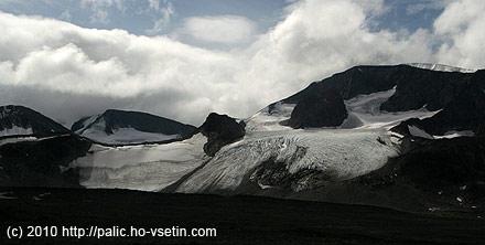 Výhledy na ledovec Veobreen