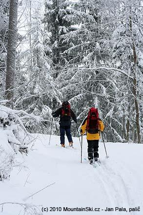 Přesun na skialpech k začátku sjezdu