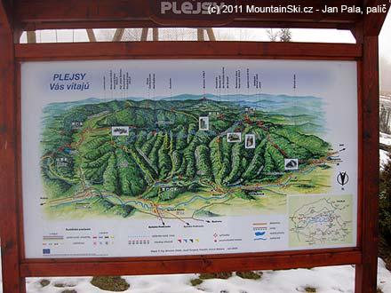 Letní cyklistická a pěší mapa oblasti Plejsy a přilehlých dolin a hřebenů
